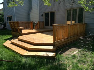 Picture of the deck just after we finished staining it