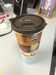 A Tim Horton's Coffee -- Black; Decaf